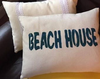 "Small throw pillow with stenciled ""Beach House"" , 12x16"""