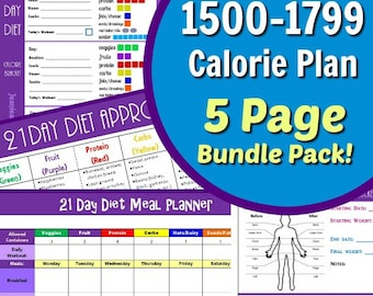 21 Day Diet Custom 1500-1799 Calories 5 Page Bundle Package with Container Tally Sheets, Meal Planner, Results Tracker and Food List