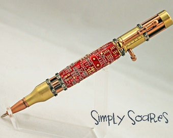 Handturned Bolt Action Steampunk Pen - Circuit Board Red