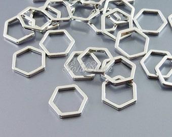 4 small 10mm shiny rhodium silver hexagon charms, honeycomb charm, geometric jewelry pendant, high quality findings 937-BR-10