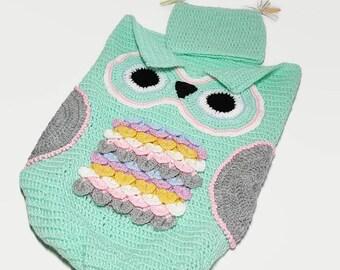 Papoose de nido de buho bebé con sombrero Crochet Cocoon foto Prop-bebé papoose bebé ganchillo bolsa buho capullo papoose del ganchillo