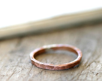Simple hammered copper ring organic shaped stackable ring (E0255)