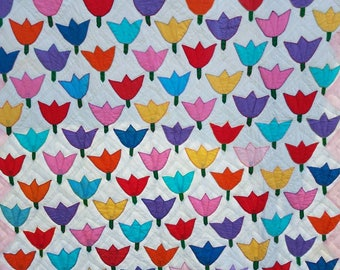 Bright, cheerful, colorful handmade tulip/flower quilt mid century mod/cottage chic/shabby chic