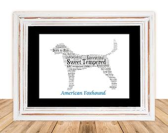 American Foxhound,American Foxhound Art, American Foxhound Print,Gifts Under 25, Pet Gift, Print, Dog Art, Pet Memorial, Custom Dog