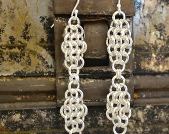 Diamond Chainmaille Earrings - Sterling Silver Plated - Dangle Earrings - By BALOOS STUDIO