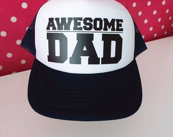 Awesome Dad Trucker Hat. Awesome Dad Hat. New Dad Gift. Father's Day Gift. Snapback Hat. Dad Gift. Gift for Dad. Dad Birthday. Best Dad.