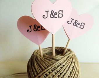 Personalized Cupcake Toppers, Pink Heart, Succulent Favor Pick, Wedding, Shower, Party Decor, Double-Sided, Set of 15