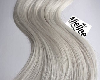 Icy Ash Blonde Clip In Extensions  | Silky Straight Natural Human Hair | 8 Pieces For a Full head | 120, 170, 220 & 270g Sets
