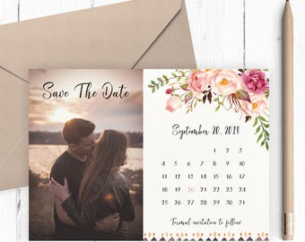 Photo Save The Date Card, Floral, Calendar Save The Date, Watercolor, Save The Date, Boho, Rustic, Wedding Announcement, Printable