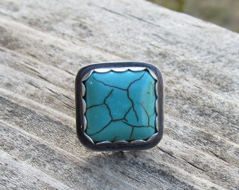 Turquoise Magnesite Sterling Silver Ring - Size 7 1/2