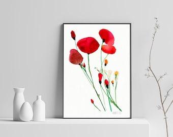 Rote Mohnblumen-Wand-Kunst. Mohn-Abbildung. Roter Wildblumen Malerei. Floral Plakat. Aquarell Mohnblumen Kunstdruck. Abstrakte Blume Art.