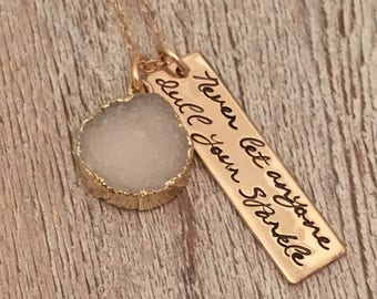 Personalized Necklace - Never Let Anyone Dull Your Sparkle - Graduation Gift - White Druzy Necklace - Inspirational Necklace - Best Friend G