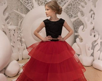Black and Red Flower Girl Dress - Birthday Wedding Party Holiday Bridesmaid Flower Girl Black and Red Tulle Lace Dress 21-093