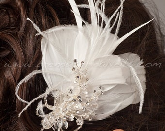 Wedding Feather Fascinator, Bridal Hair Birdcage Fascinator, Bridal Headpiece - Frost