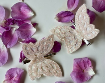 Ivory white glitter butterfly hair clips - SET OF TWO