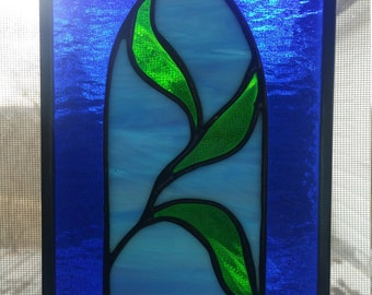 """Stained Glass Window Panel """"Leaves"""". Gift-Housewarming-Under 40"""