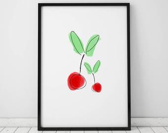 Cherry INSTANT DOWNLOAD Printable, Kitchen Printable, Kitchen Print, Cherry Printable, Red printable, Cherry Print, Food Printable, Cherry