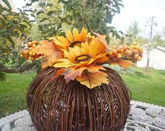Table Decor Large & Tall Pumpkin Centerpiece With Pretty Sunflowers