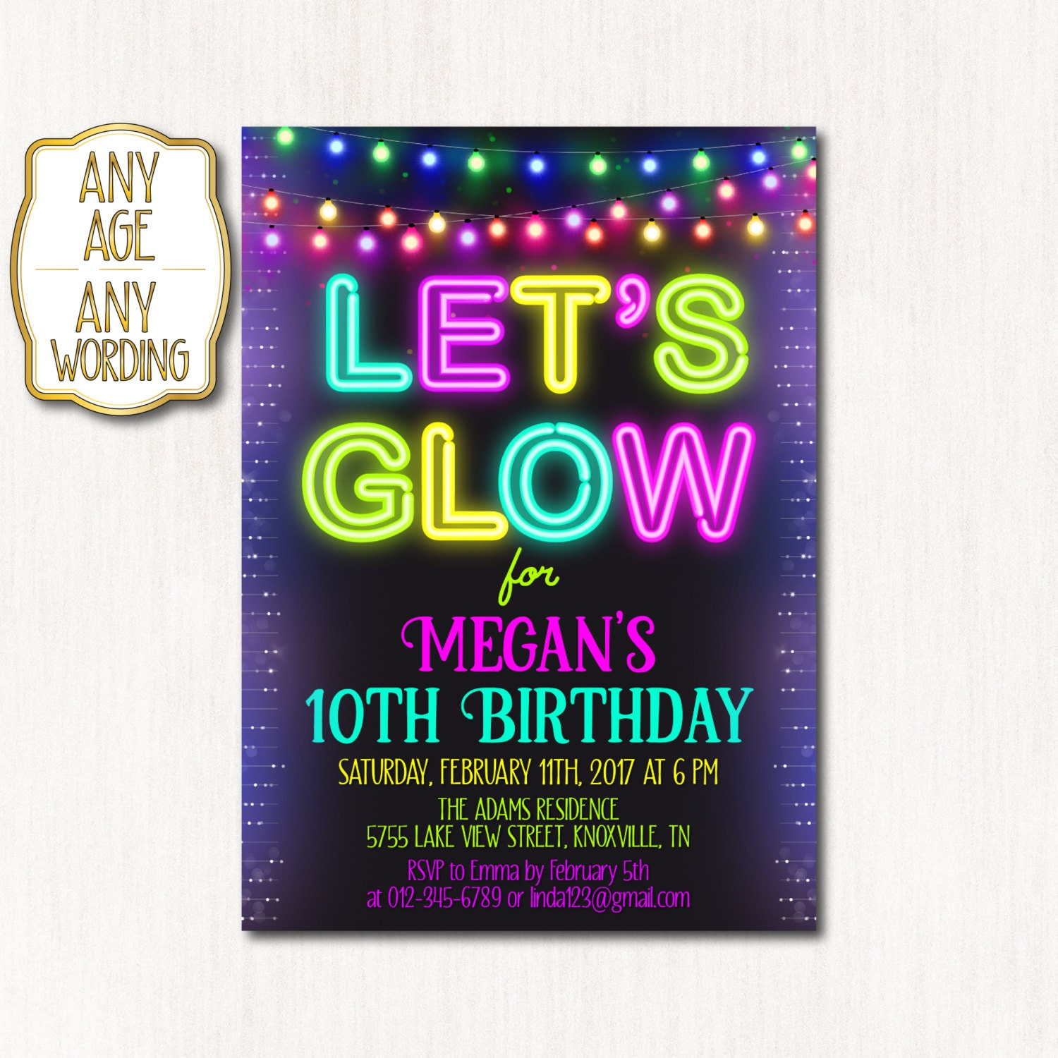 10th Birthday Invitation Neon Birthday Party NEON Tenth