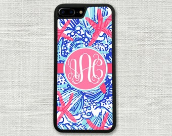 iPhone 7 Case, Summer Seashells Monogrammed iPhone 7 Plus Case Monogram Starfish 1201