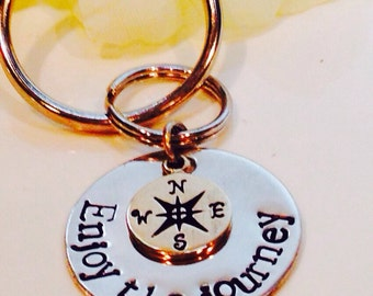 Enjoy the journey Hand Stamped Keychain with compass charm-Graduation Gift-Missionary Keychain-Graduation Keychain