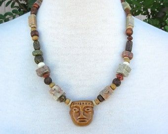 Mexican Olmec/Zapotec pre-Mayan Ceramic Mask, Wood, Soapstone, Bone, Seed & Nut Beads, Unisex Organic Necklace by SandraDesigns
