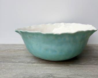 Porcelain bowl - Ceramic bowl - Pottery bowl - Serving bowl - Side bowl - Turquoise bowl