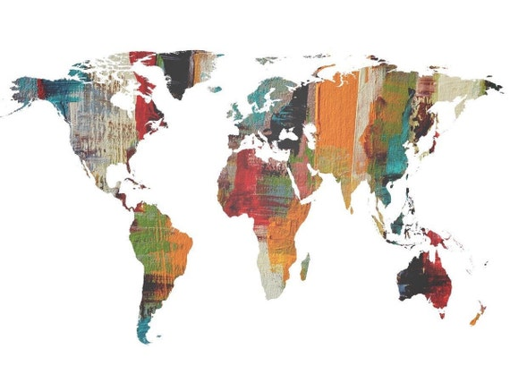 Painted World Map II. Large Canvas Art Print. Large Wall Art for Home. Abstract Map. Home Decor. Abstract Map. Wall Decor by Irena Orlov.