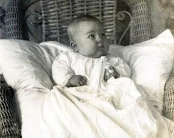 vintage photo 1920 Little Baby girl White Cotton Ruffle Dress Victorian Wallpaper