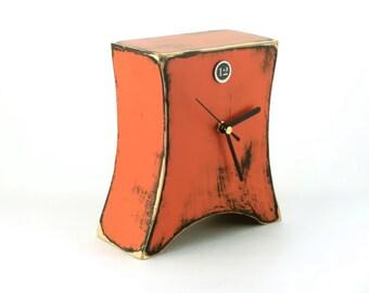 Desk Orange clock, Wooden Table Clock, Tangerine clock,  Unique Distressed clock, Cottage decor, Pumpkin color clock, Spring clock for home