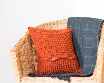Orange Cushion Cover, Couch Pillow, Bohemian Decor, Textured Cushion, Boho Pillow, Burnt Orange Pillow, Boho Cushion, Couch Cushion