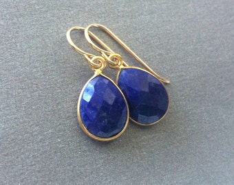 Lapis Earrings, Lapis Gold Earrings, Lapis Sterling Earrings, Lapis Tear Drop Earrings, Gold Filled Wires, Delicate Lapis in Gold Frames