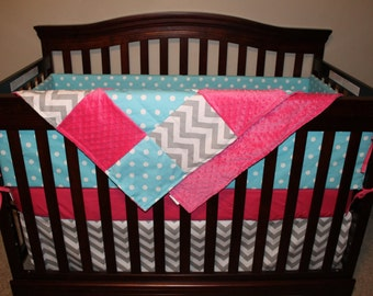 Aqua Dot, Gray Chevron, and Hot Pink Crib Bedding Ensemble with Patchwork Blanket