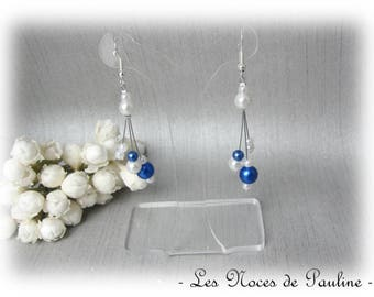 Blue earrings Royal white asymmetrical Eva wedding ceremony