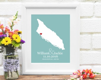 Aruba Map, Aruba Island Map, Wedding Gift for Couple, Custom Map Design, Aruba Honeymoon, Wedding Art, Destination Wedding, Anniversary Gift