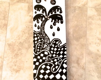 Hand Painted Skateboard Art - Original Artwork in Black and White - Deck only - Ready to Ship