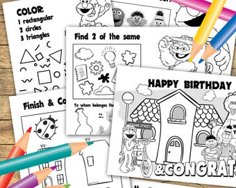 INSTANT DOWNLOAD Elmo Coloring Pages 6 Sheets Birthday Activities Ptintable Sesame Street Party Printables
