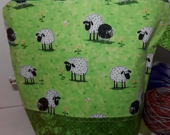 Large Zipper Project Bag, Ready to Ship, RTS, Sheep in Green Fields, Floral Interior, Large Size, Shawl to Sweater Wedge, Tote Bag