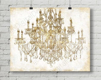 Chandelier wall art etsy printable digital gold chandelier wall art decoration chandelier poster chandelier print large size 16x20 and 24x36 instant download aloadofball Gallery