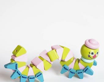Caterpillar-acrobat / wooden caterpillar / eco toy / caterpillar toy / educational toy / girl gift / boy gift / children's toy /flexible toy
