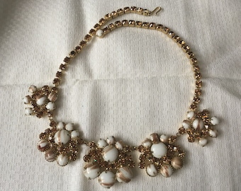 Juliana D&E Gold/Copper Fluss with White Milkglass and Colorado Topaz Rhinestone Necklace 1483