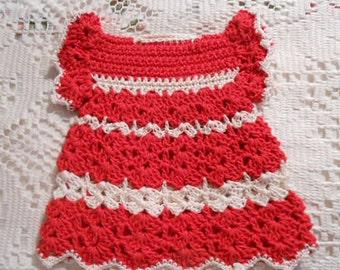 Vibrant RED DRESS Potholder White Stripes, Shell & Scallop Stitches, 1940 Americana Kitchen Wall Decor, Handmade Birthday Kitsch Gift