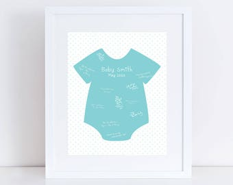 baby shower signature guest book print, gender neutral baby shower decor, custom baby guest book, custom art, personalised mum to be gift
