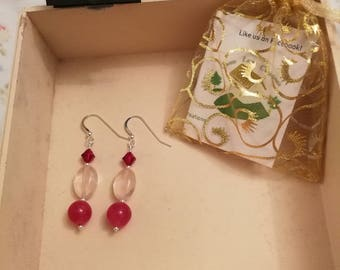 Pink Crystal, Rose Quartz and Dyed Agate Earrings