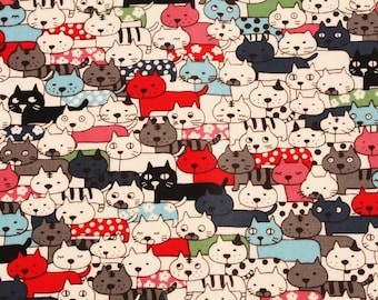 Laminated Oxford Cotton Fabric Cats printed Fabric made in Korea by the Half Yard