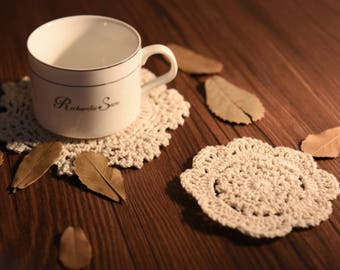 Lace Hand Hook Flower Coaster / Crochet Lace Coasters / Dining Mat / Food Photography Props / Tablemat / Placemat