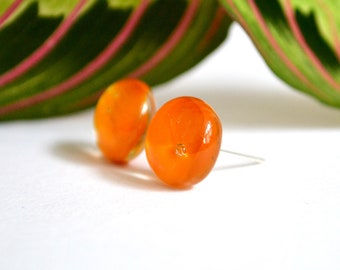 Deep Orange Glass Stud Earrings