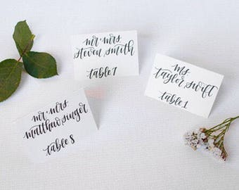 White Wedding Place Cards   White Cardstock   Hand Lettered