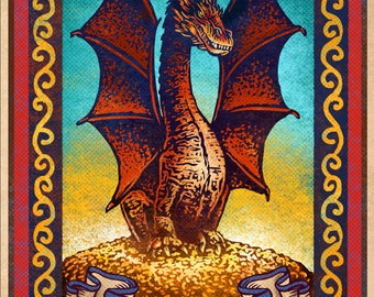 "Smaug Matchbox Art- 5"" x 7"" matted signed print"