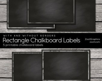 "Rectangle Chalkboard Labels With And Without Borders, 2""x3"", Printable, 5 png Labels, 1 PDF, Commercial Use INSTANT DOWNLOAD"